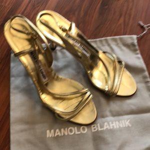 Manolo Blahnik Gold heeled sandals. Size 35.5